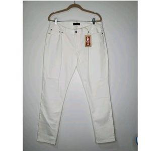 NEW Levi's Size 17 Too Superlow 524 White Jeans Ultra Low Stretch Denim Skinny